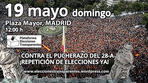 Photo of La Plataforma Elecciones Transparentes convoca concentraciones en toda España el domingo 19 contra el pucherazo en las elecciones del 28-A