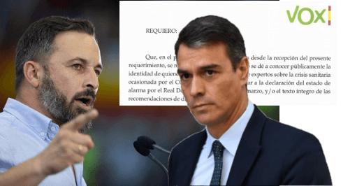 Photo of Abascal exige a Sánchez, por burofax, el listado de expertos que deciden sobre la desescalada