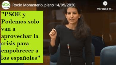 """Photo of Monasterio: """"PSOE y Podemos solo van a aprovechar la crisis para empobrecer a los españoles"""""""