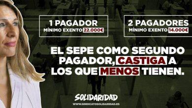 Photo of Solidaridad exige que los afectados por ERTE no tengan que declarar dos pagadores en la declaración de la renta